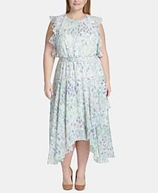 Plus Size Floral Chiffon Handkerchief-Hem Midi Dress