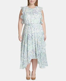Tommy Hilfiger Plus Size Floral Chiffon Handkerchief-Hem Midi Dress