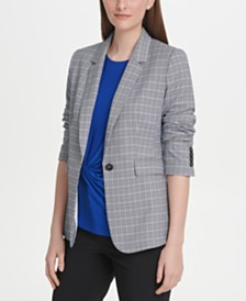 DKNY Petite Plaid One-Button Jacket