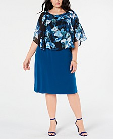 Plus Size Cape Overlay A-Line Dress