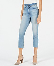 Alicia Folded-Waist Cropped Skinny Jeans