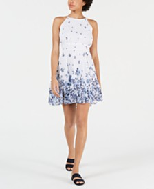 Maison Jules Printed Fit & Flare Dress