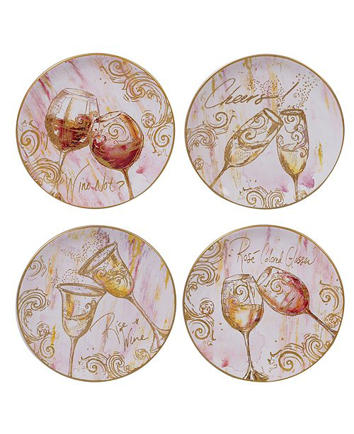 Certified International Wine All The Time Dessert Plates, Set of 4