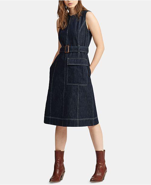 online store best prices wholesale sales Polo Ralph Lauren Denim Fit & Flare Cotton Dress & Reviews ...
