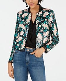 Rachel Zoe Abbie Floral-Print Sequined Jacket