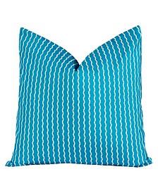 """Crayola Serpentine Stripe Cerulean 16"""" Designer Throw Pillow"""