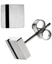 Sutton Stainless Steel Black Striped Square Stud Earrings