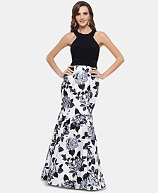 XSCAPE Illusion-Inset Floral-Print Gown