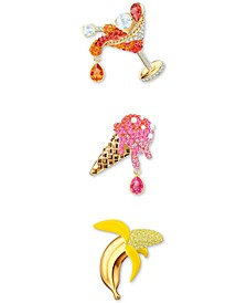Gold-Tone 3-Pc. Set Crystal Summer-Motif Pins