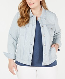 Style & Co Plus Size Basic Striped Jean Jacket, Created for Macy's