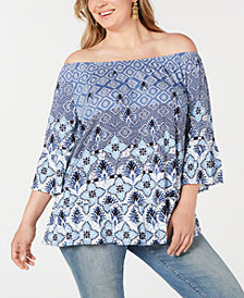 Style & Co Plus Size Printed On-Or-Off-The-Shoulder Top, Created for Macy's