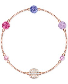 Swarovski Remix Rose Gold-Tone Multicolor Pavé Fireball & Bead Magnetic Bracelet