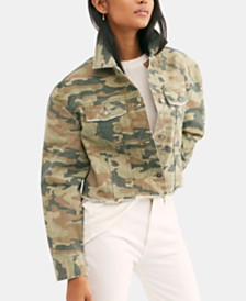 Free People Camouflage-Print Cotton Denim Jacket