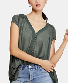 Free People Highland Smocked-Shoulder Top
