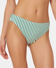 Jessica Simpson Printed Shirred-Back Hipster Bikini Bottoms