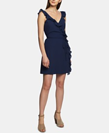 1.STATE Ruffle-Trim Wrap Dress