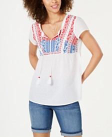 Style & Co Embroidered Tassel Top, Created for Macy's