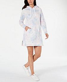 Calvin Klein Performance Tie Dye Printed Logo Hoodie Dress