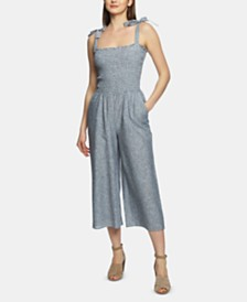 1.STATE Smocked-Top Boardwalk Striped Jumpsuit