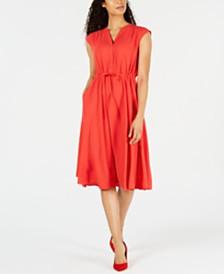 Anne Klein Drawstring-Waist V-Neck Dress