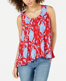 Style & Co Petite Printed Sleeveless High-Low Swing Top, Created for Macy's
