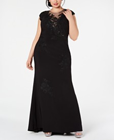 XSCAPE Plus Size Embroidered Illusion-Mesh Gown