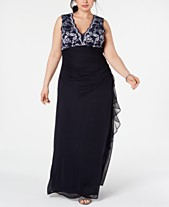 edaa443c9f3 Betsy   Adam Plus Size Lace-Top Ruffled Gown