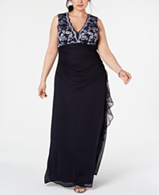Betsy & Adam Plus Size Lace-Top Ruffled Gown