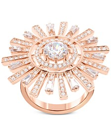 Swarovski Rose Gold-Tone Crystal Sunshine Ring