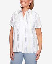 Alfred Dunner Monterey Layered-Look Embroidered Cotton Top