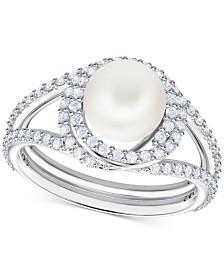 Swarovski Silver-Tone Pavé & Imitation Pearl Ring