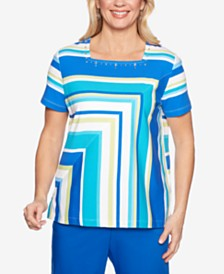 Alfred Dunner Waikiki Square-Neck Embellished Top