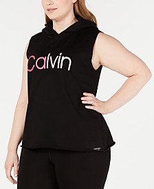 Calvin Klein Performance Plus Size Ombré-Logo Sleeveless Hoodie