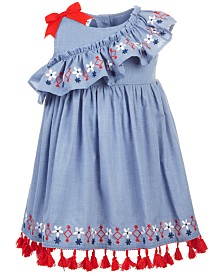 Blueberi Boulevard Baby Girls Embroidered Tassel Chambray Dress