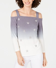 I.N.C. Cold-Shoulder Ombré Star Top, Created for Macy's