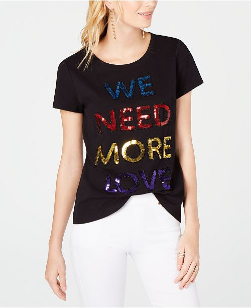 INC International Concepts INC Pride Rainbow We Need More Love Embellished T-Shirt, Created for Macy's