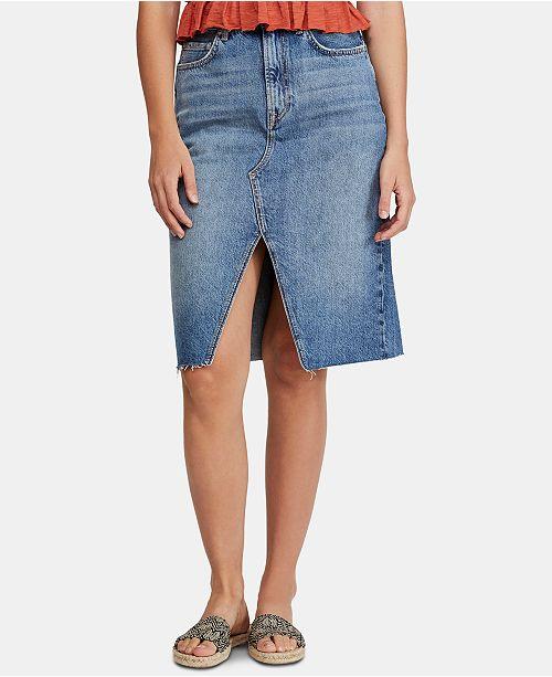 Free People Suzanne Midi Denim Skirt