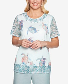 Alfred Dunner Petite Monterey Printed Embellished Top
