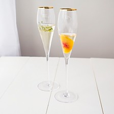 Cathy's Concepts Mr. & Mrs. Gatsby Gold Rim Champagne Flutes