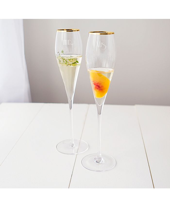Cathy's Concepts - Mr. Mrs. Gatsby Gold Rim Champagne Flutes