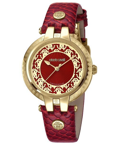 ffdb4e28fd6e6 ... Roberto Cavalli By Franck Muller Women's Swiss Quartz Red Calfskin  Leather Strap Watch, ...