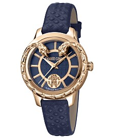 Roberto Cavalli By Franck Muller Women's Swiss Quartz Blue Calfskin Leather Strap Watch, 34mm