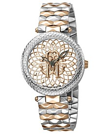 By Franck Muller Women's Swiss Quartz Mother of Pearl and Floral Design Dial Two-Tone Rose Gold Stainless Steel Bracelet Watch, 34mm