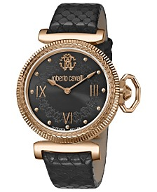 Roberto Cavalli By Franck Muller Women's Swiss Quartz Black Calfskin Leather Strap Black Dial Watch, 38mm