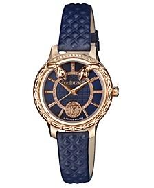 By Franck Muller Women's Diamond Swiss Quartz Navy Calfskin Leather Strap Watch, 34mm