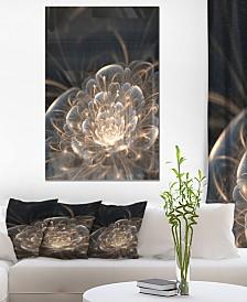 "Designart 'Fractal Flower With Golden Rays' Floral Metal Wall Art - 30"" X 40"""