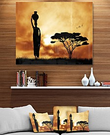 """Designart 'African Woman And Lonely Tree' African Landscape Metal Wall Art - 40"""" X 30"""""""