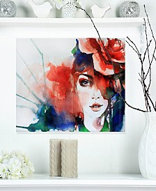 "Designart 'Woman With Rose Illustration' Abstract Metal Artwork - 20"" X 12"""