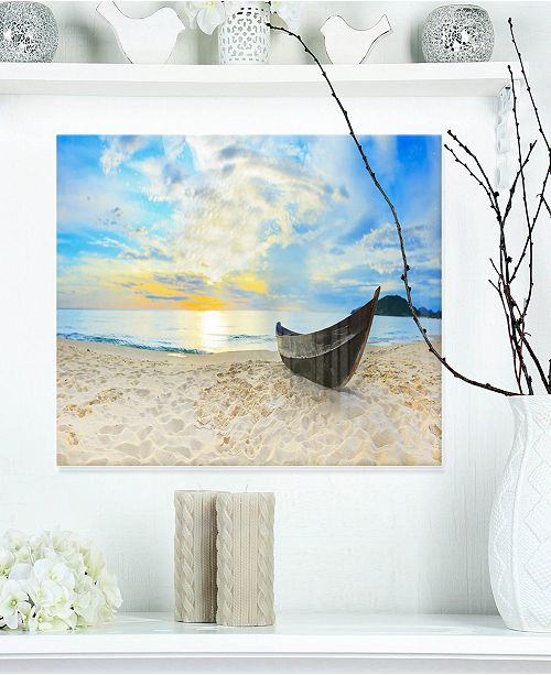 "Design Art Designart 'Calm Beach Panorama' Photography Metal Wall Art - 20"" X 12"""
