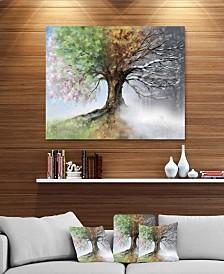 "Designart 'Tree With Four Seasons' Tree Painting Metal Wall Art - 40"" X 30"""